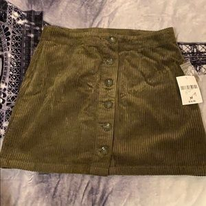 An olive green skirt